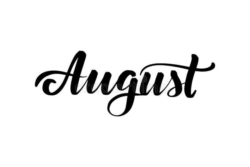 Inspirational handwritten brush lettering August stock illustration