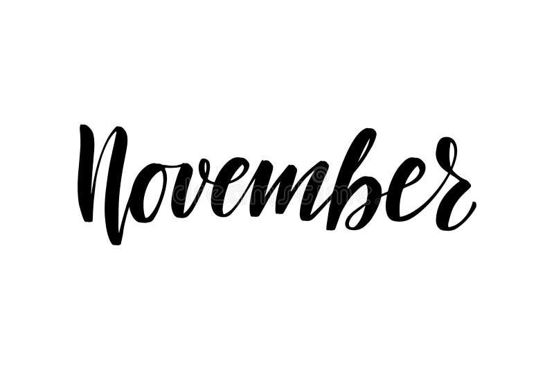 Inspirational handwritten brush lettering November stock illustration
