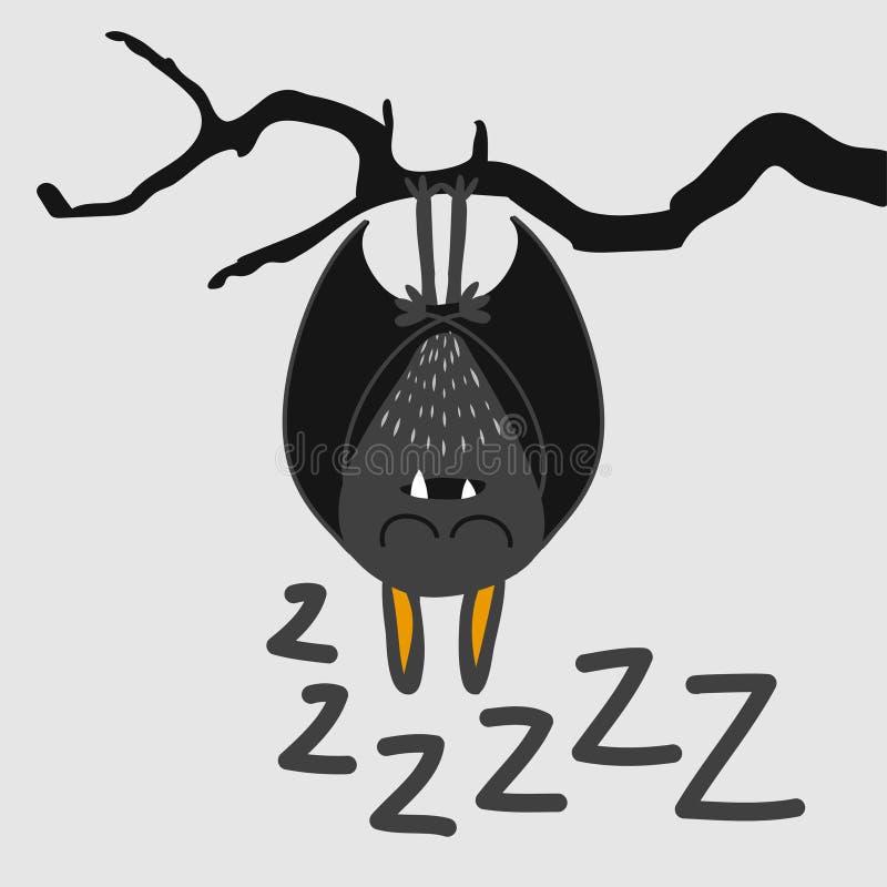 Cute sleeping bat - Halloween overlays, lettering labels design. royalty free illustration