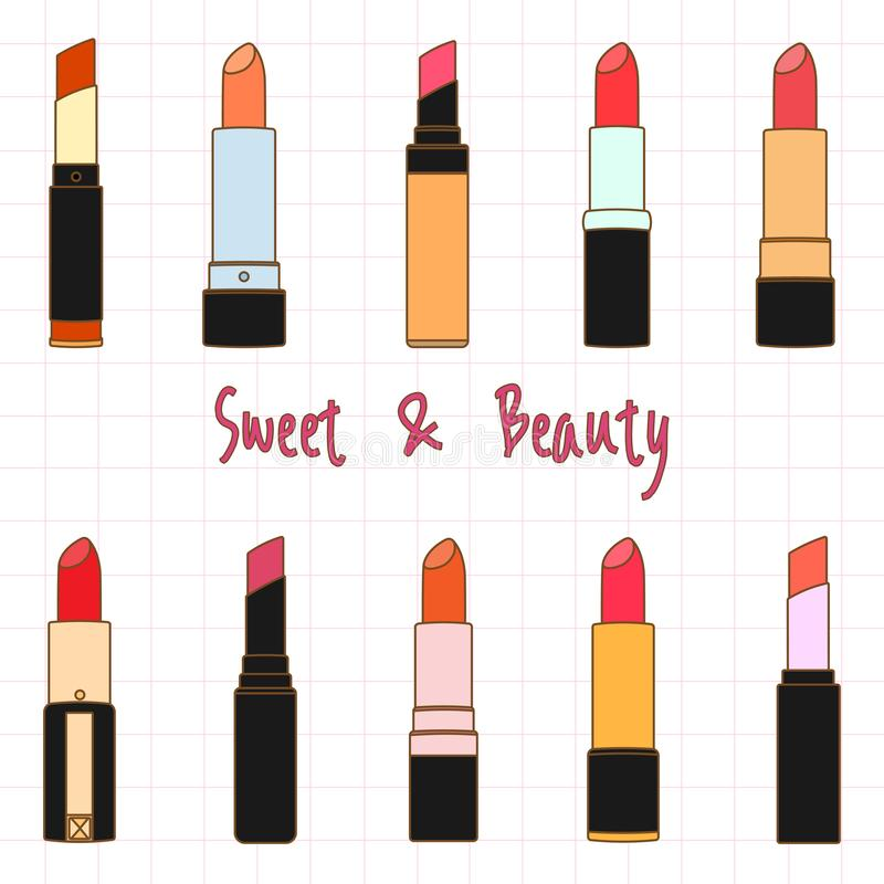 Colorful Lipstick Collection Set, Vector Illustration Doodle Cartoon Style royalty free stock photo