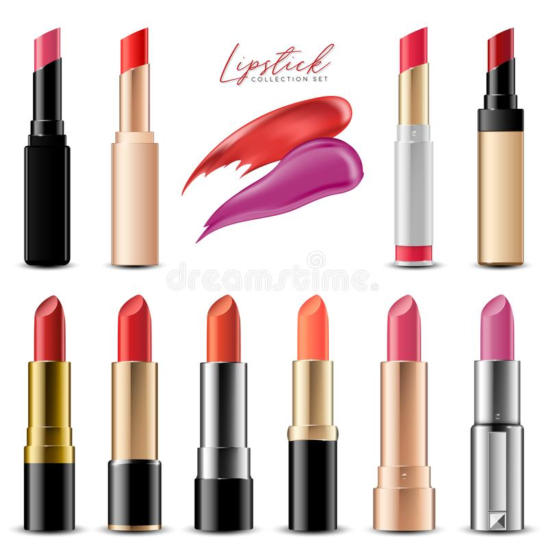 Realistic Colorful Lipstick Collection Set, Vector Illustration stock images
