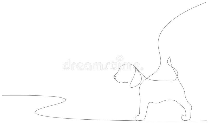Puppy on white background line draw, vector. Illustration stock illustration