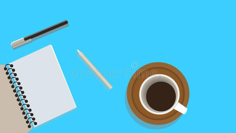 Set of flat design illustration of modern business office and workspace. Top view of desk background royalty free illustration