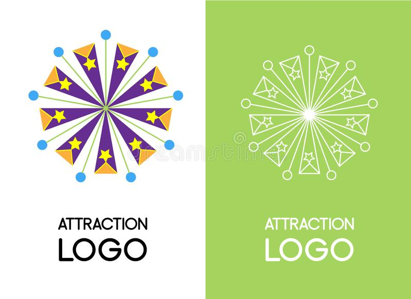 Original fun logos. Set of two vector illustrations, white linear and colored flat vector illustration