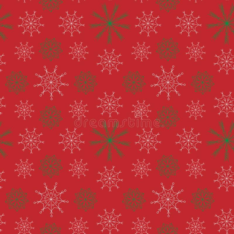 Bright New year and Christmas seamless pattern, white and green snowflakes at the red background royalty free illustration
