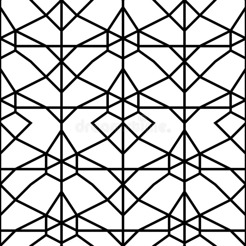 Vector seamless pattern. Geometric background with rhombus and nodes. Abstract geometric pattern stock illustration