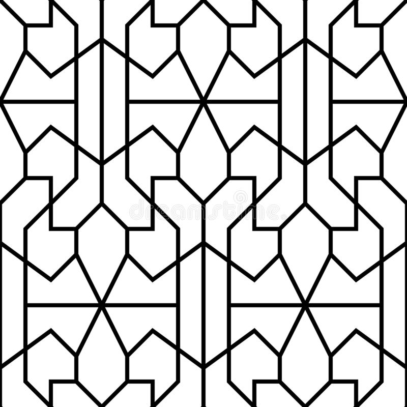 Vector seamless pattern. Geometric background with rhombus and nodes. Abstract geometric pattern royalty free illustration