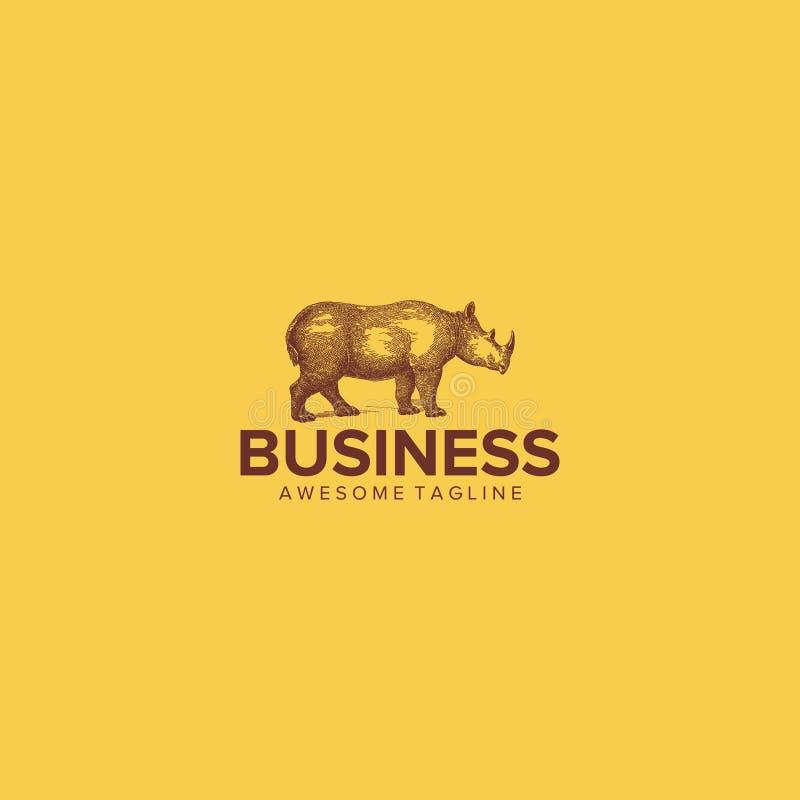 Vintage rhino logo vector illustration