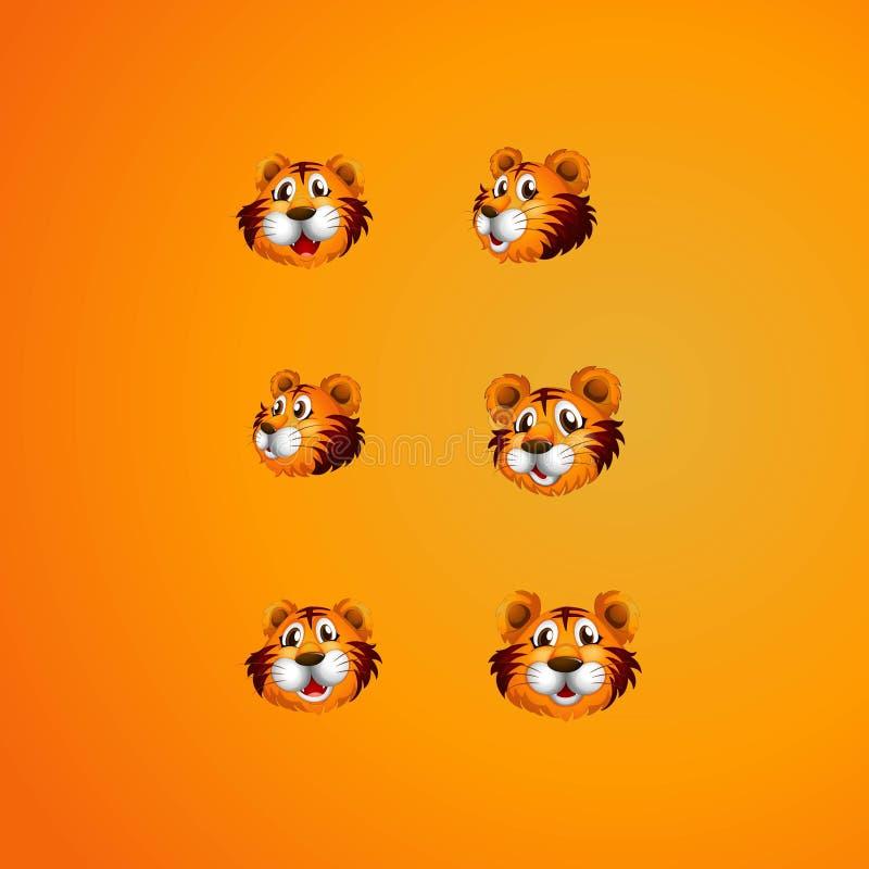 Set of head tiger logo stock illustration