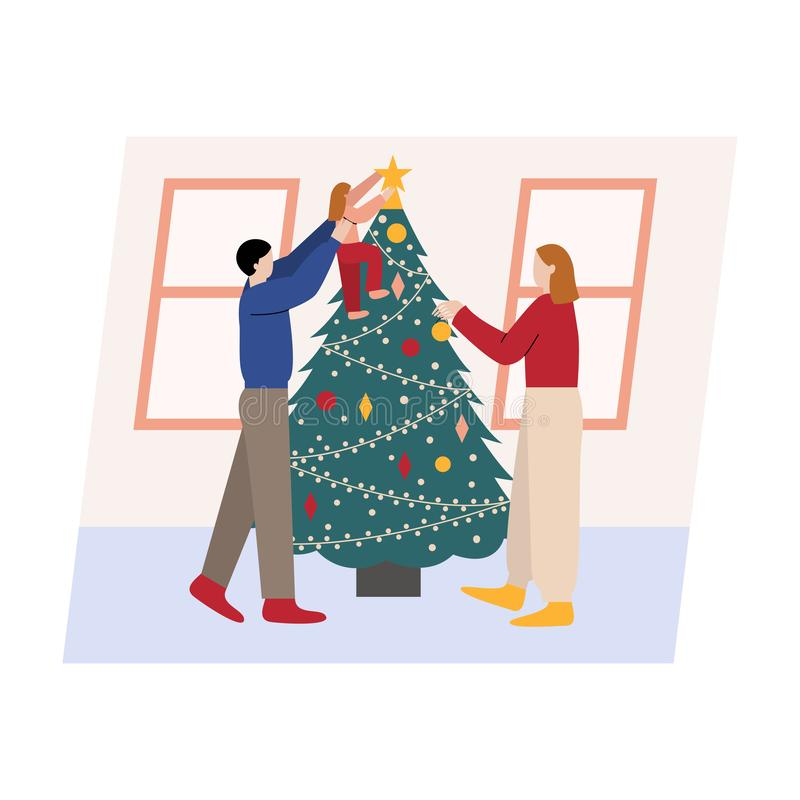 Family decorating Christmas tree. Man, woman and their daughter preparing for Christmas. Flat cartoon vector illustration stock illustration