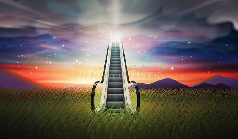 Escalator up to sky, Soul journey, Bright light from heaven, Way, path to God royalty free illustration