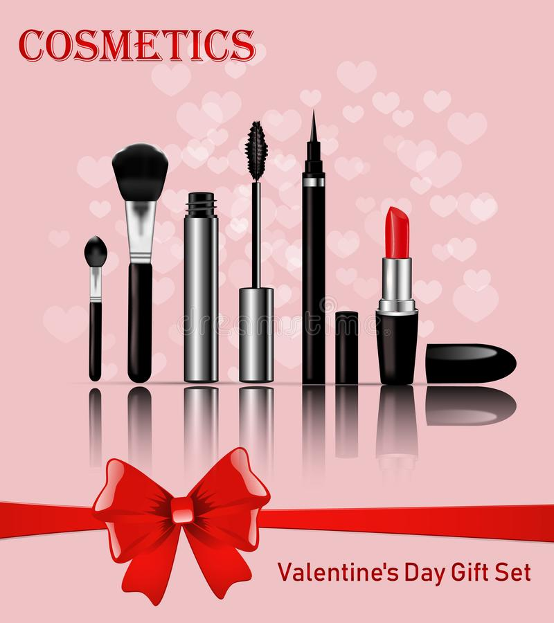 Valentine`s Day makeup kits with red bow stock photography