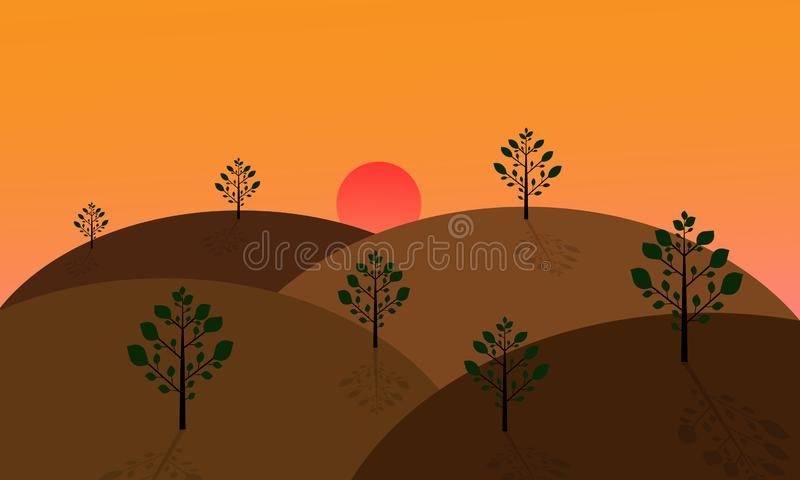 Landscape with green trees on the hills. At sunset.vector design vector illustration