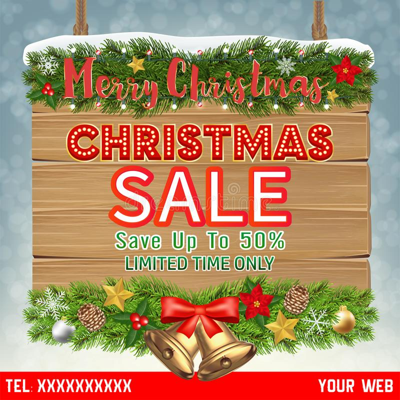Christmas sale banner on hanging wood board royalty free stock image