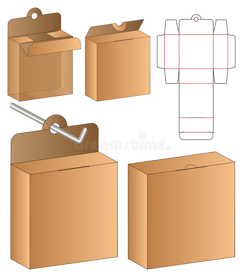 Box packaging die cut template design. 3d mock-up royalty free stock photography