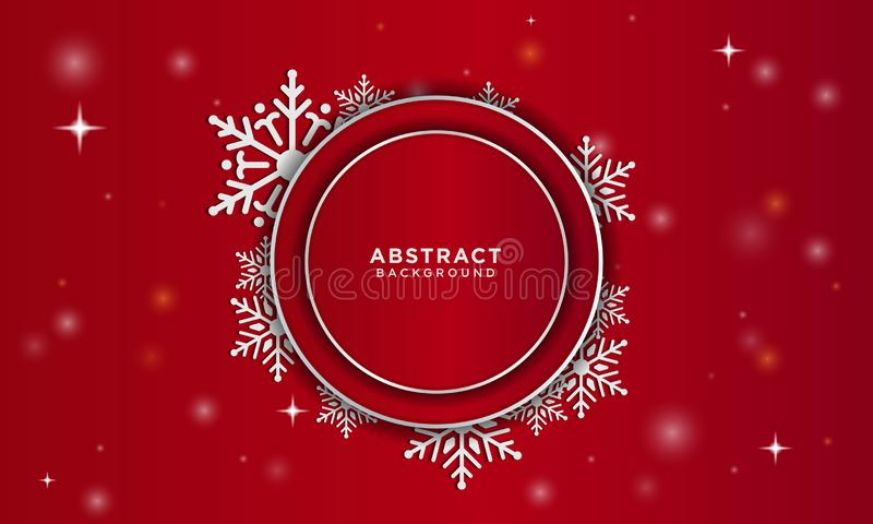 Christmas background with snow falling and overlapping red circle vector illustration