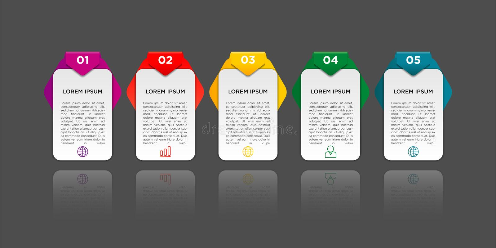 Infographic design with gradient and paper shadow effect 5 options or steps. Infographics business concept royalty free illustration
