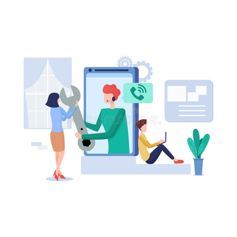Technical support illustration concept. Modern business technology. stock image