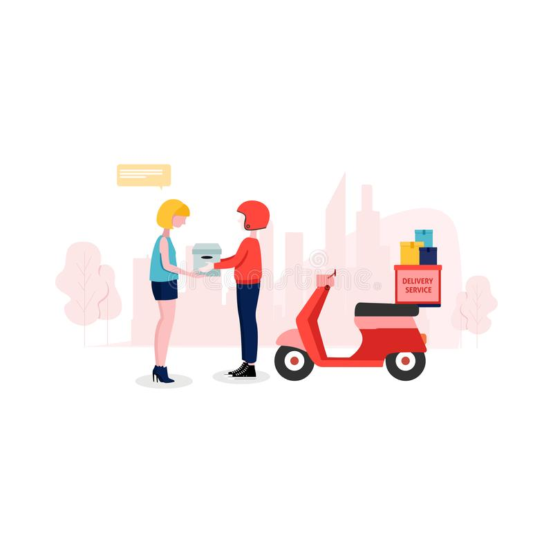 Delivery man are holding the box and up the stairs to put boxes delivered to the customer. stock image