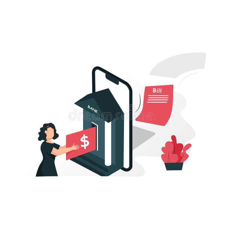 Modern flat design isometric concept of Online Banking for banner and website. royalty free illustration