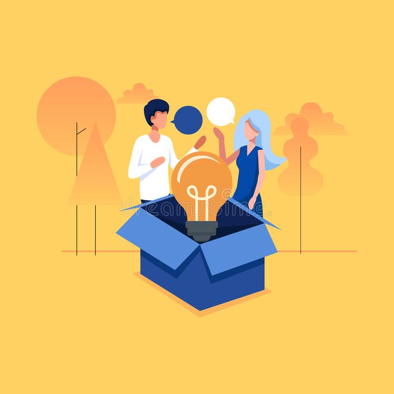 Think out of the box Individuality concept, one glowing light bulb float over opened cardboard box vector illustration