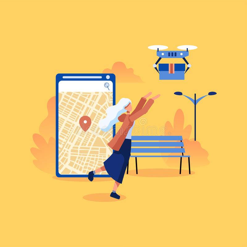 Quadcopter flying over a map and carrying a package to customer. royalty free stock images