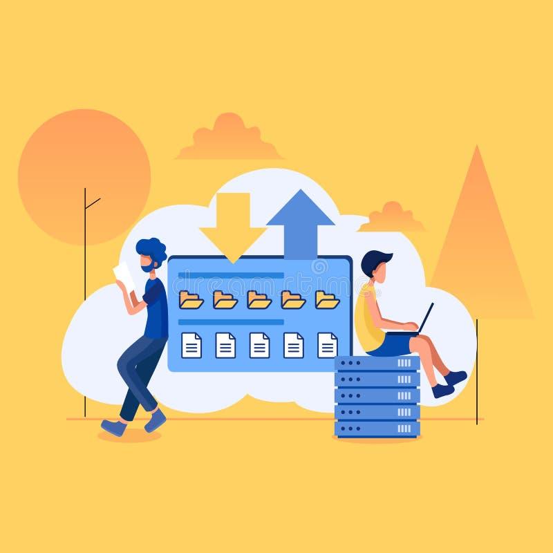 Vector flat illustration, cartoon style, cloud storage, data processing, message sending, stock photos