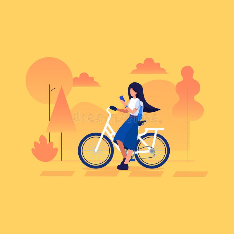 Young female traveler sitting with bicycle and using smart phone on the Trip . royalty free stock photo