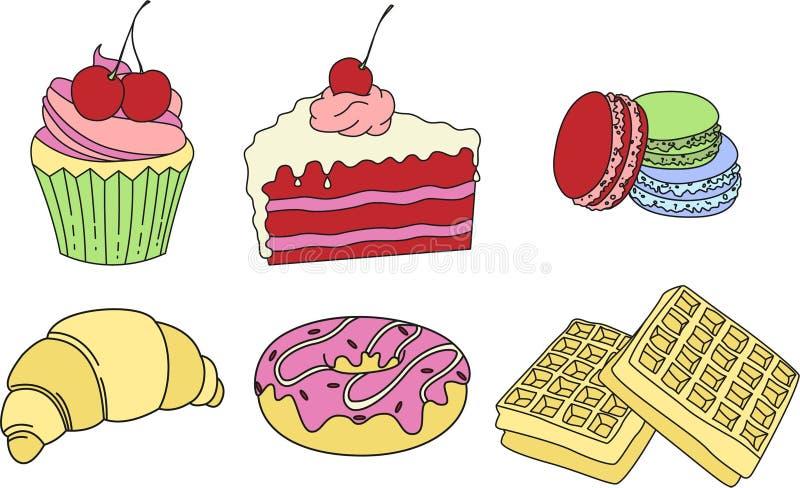 Cake, macaroons, croissant, donuts & waffles. Tasty illustration. royalty free stock image