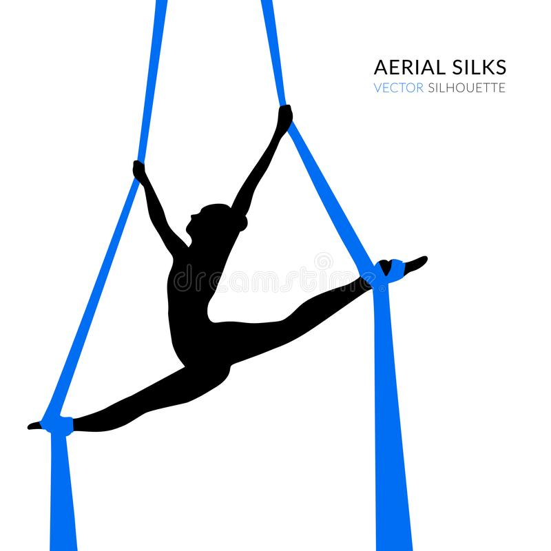 Silhouettes of a gymnast in the aerial silks. Air gymnastics concept. Vector illustration on white background stock illustration