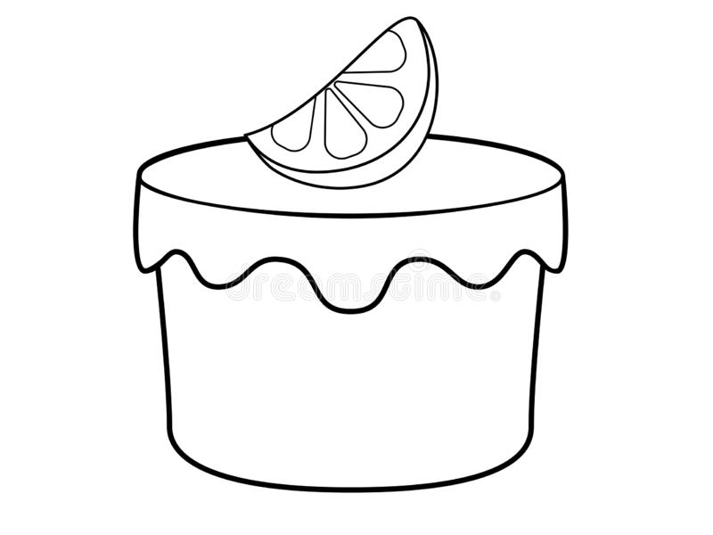 Sponge cake with lemon. Iceberg coated lemon muffin. Cupcake with icing and a slice of lemon - stock vector illustration for color stock illustration