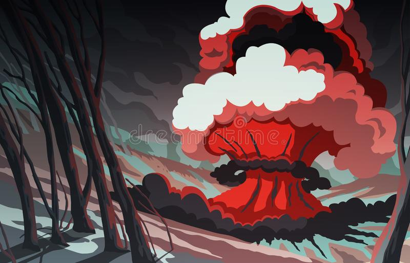Nuclear explosion in the mountain landscape. Blast wave. Huge volumes of smoke and sparks of fire. Colorful scenery background. vector illustration