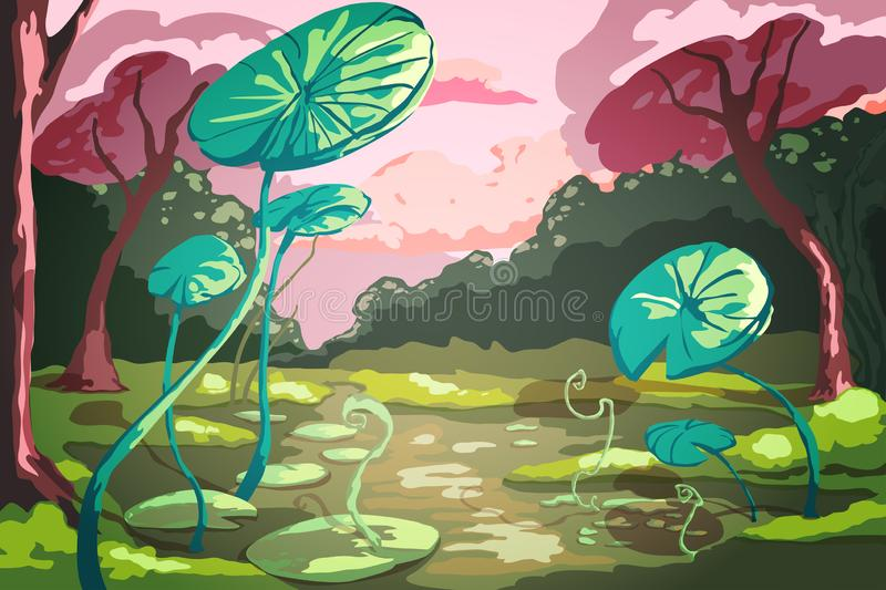 Summer landscape with giant green lotus leaves in the pond. Sunset scenery with beautiful pink trees. vector illustration