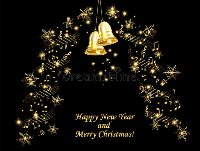 Christmas card with golden bells on a musical theme stock photos