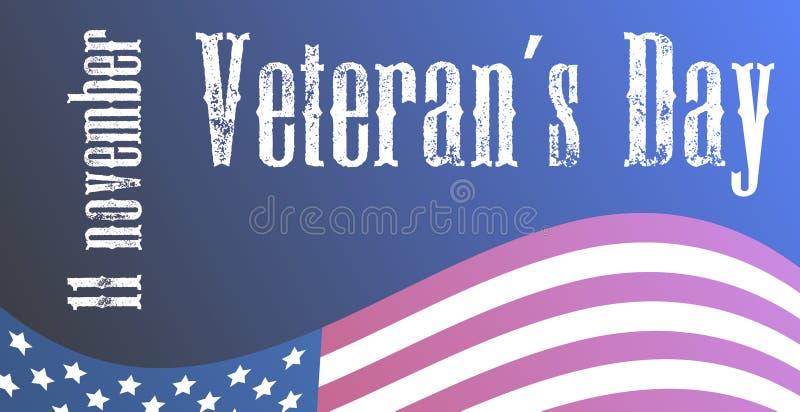 US Veterans day holiday. 11 november. American flag lettering design stock illustration