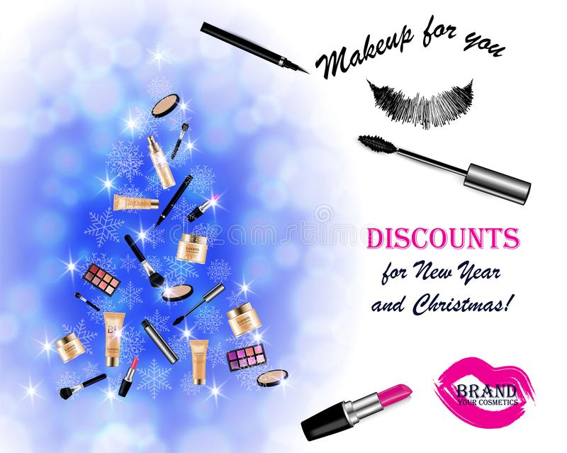 Christmas and New Year makeup kits royalty free stock images