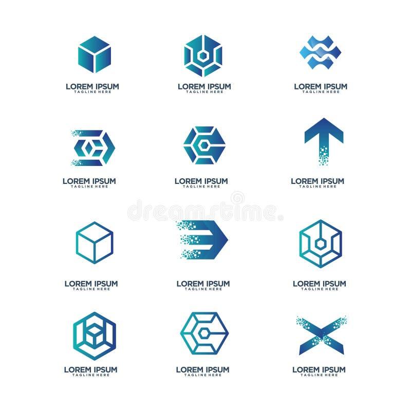Set of business technology logo design. Vector template vector illustration