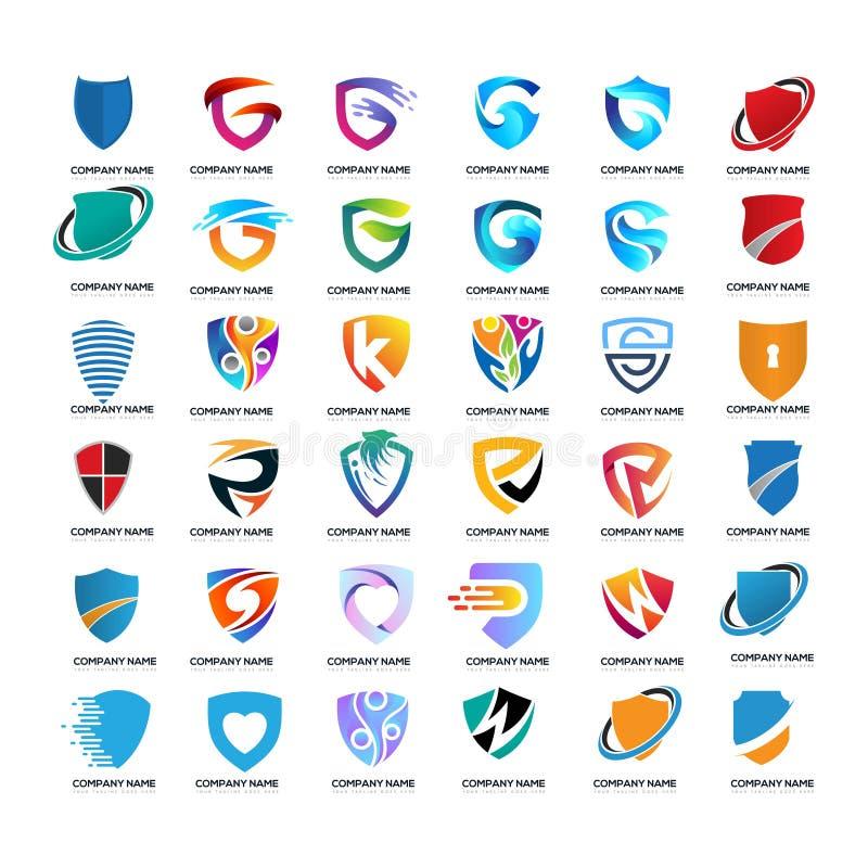 Set of business shield G letter technology. Logo design vector royalty free illustration