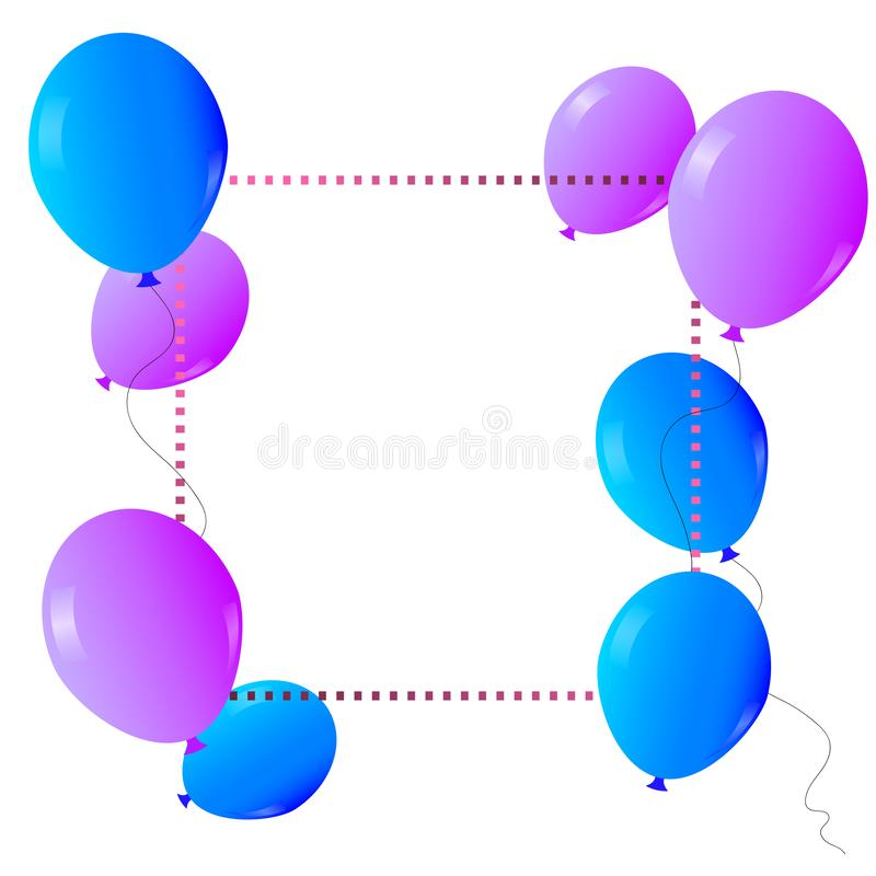 Vector purple and blue balloons on a white background with frame and free space for your text.. stock illustration