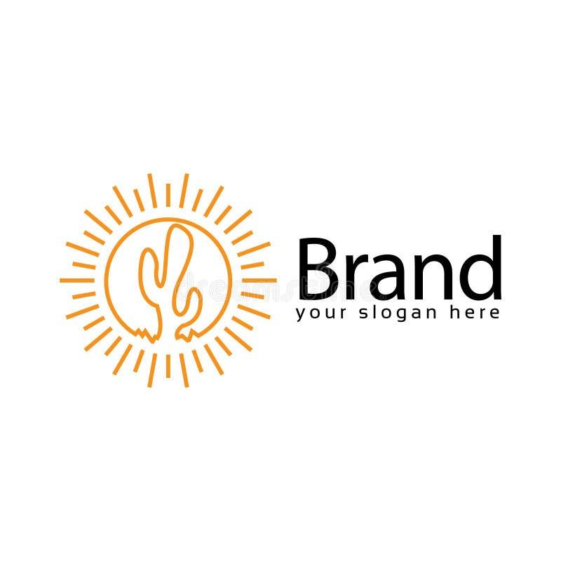 Sun Cactus logo, flat design. Vector Illustration on white background vector illustration