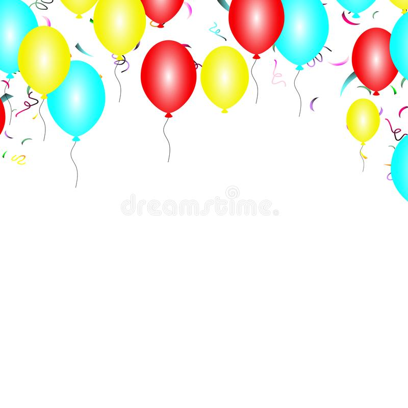 Frame with red blue balloons on a white background vector. vector illustration