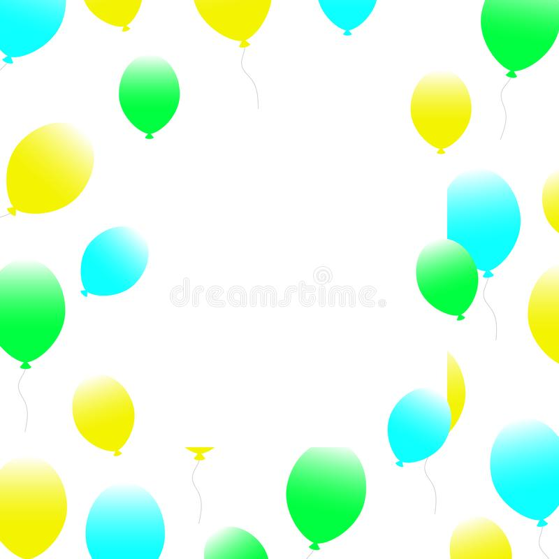 Web many yellow blue balloons fly to the top on a blank space background. holiday banner. vector illustration