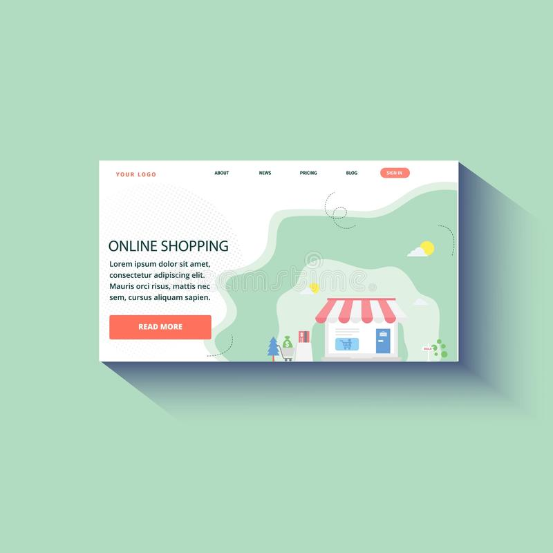 Landing page website background online shopping. Vector template stock illustration