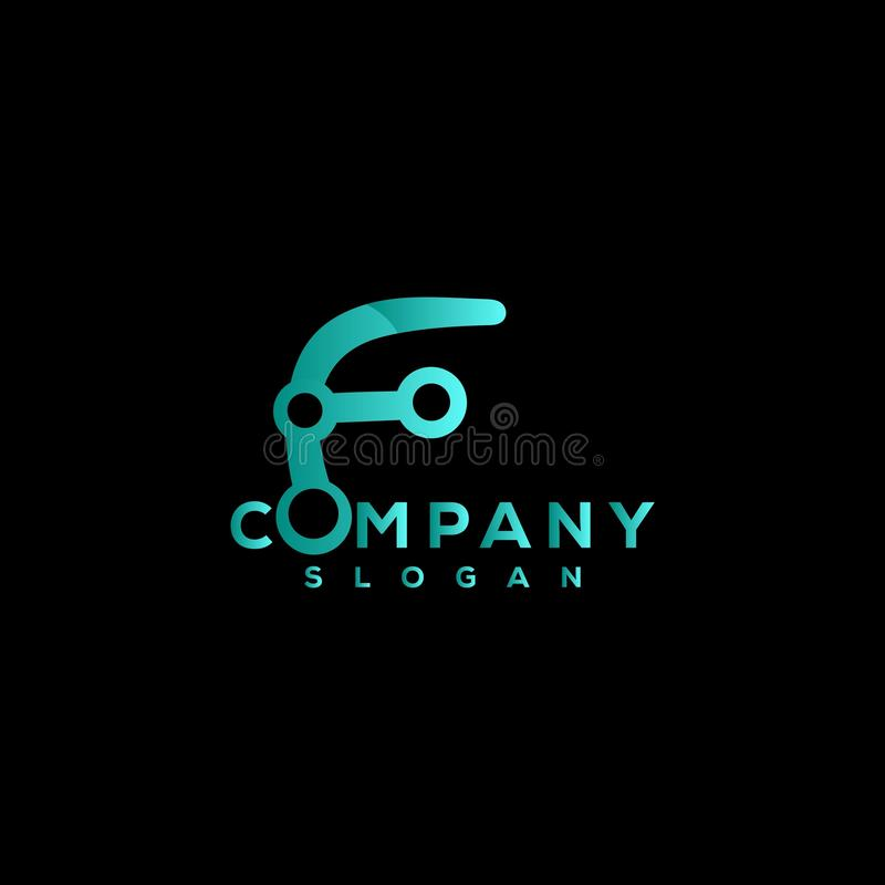 Business technology logo with F letter. Vector vector illustration
