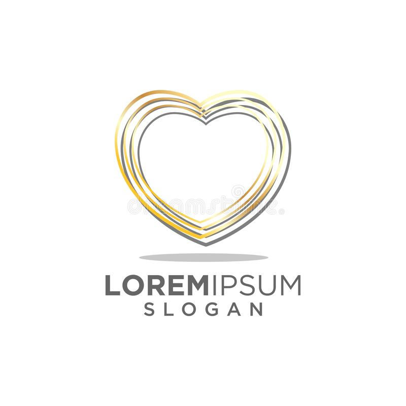 Abstract luxury gold love heart logo royalty free illustration