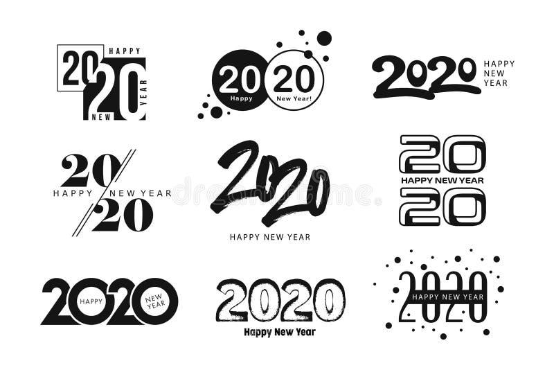 Big Set of 2020 Happy New Year logo text design. stock illustration
