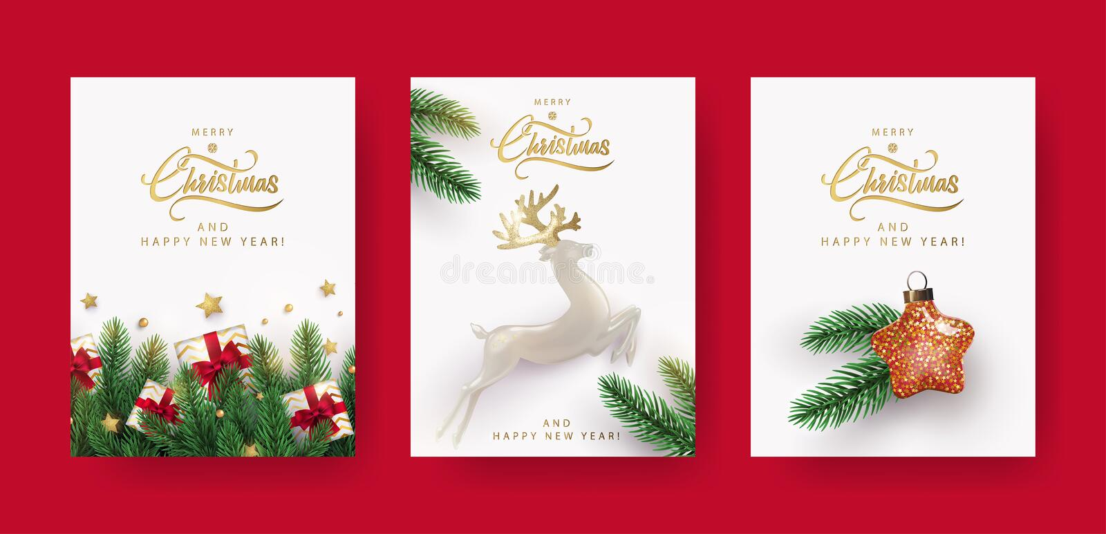Set of Christmas and New Year greeting cards with xmas decoration. Winter Holiday Posters or banners design in modern realistic style with fir branches, gift royalty free illustration