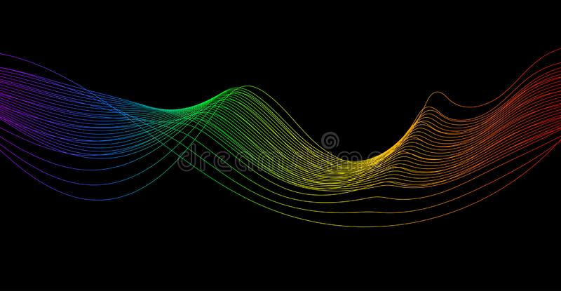 Colorful sound wave rhythm. Abstract wavy stripes on a dark background isolated. Creative line art royalty free illustration