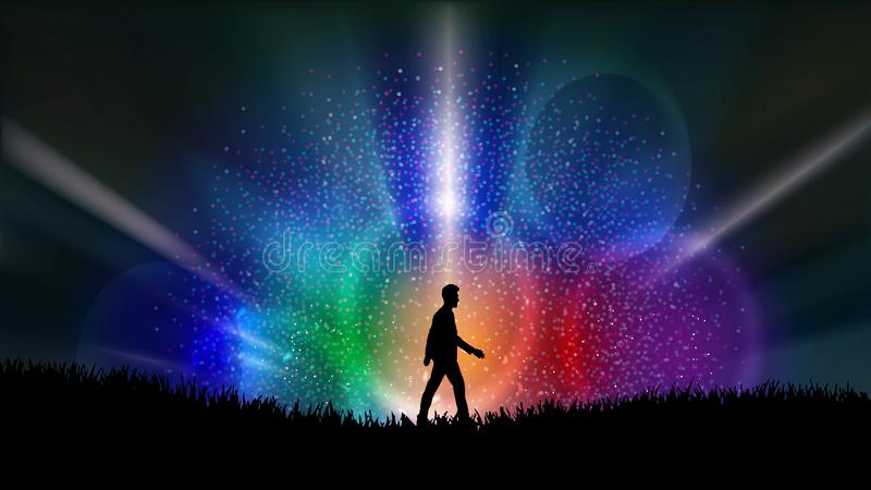 Free thinking, nourish your mind, positive thoughts, good intentions, success, power concept. Man silhouette walking in the night fallowed by rainbow colors stock illustration