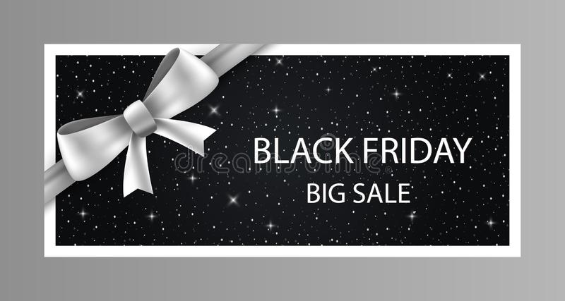 Black friday sale layout with silver bow and white text. For art template design, list, page, mockup brochure style, banner, idea, stock photography